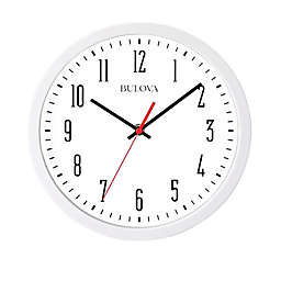 Bulova Cubicle 10-Inch Round Wall Clock in White