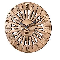 Bulova Sunrise 15-Inch Round Indoor/Outdoor Wall Clock in Golden Bronze