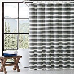 Stones Throw Charcoal Stripe Shower Curtain