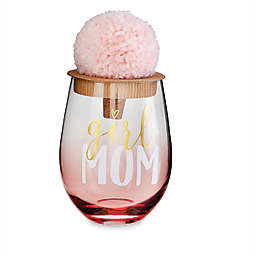 Mud Pie Girl MOM 2-Piece Wine Glass Set in Pink