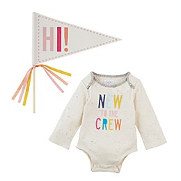 Mud Pie® Size 0-6M New to the Crew 2-Piece Crawler & Pennant Set in Pink/White