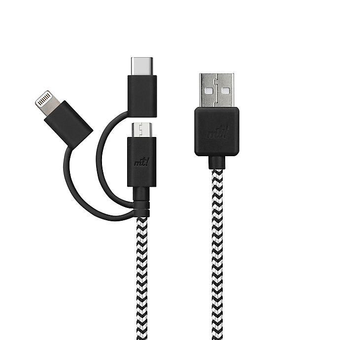 Alternate image 1 for MyTech 6-Foot Micro USB Lightning Type C Cable