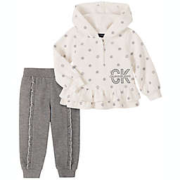 Calvin Klein 2-Piece Fleece Hoodie and Pant Set in Silver