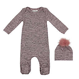 HannaKay by Manière 2-Piece Sweater Knit Footie and Hat Set in Pink