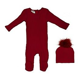 HannaKay by Manière 2-Piece Rib Cotton Footie and Hat Set in Burgundy