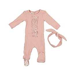 HannaKay by Manière 2-Piece Velour Fringe Footie and Headband Set in Mauve