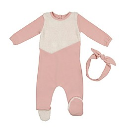 HannaKay by Manière 2-Piece Sherpa Footie and Headband Set in Mauve