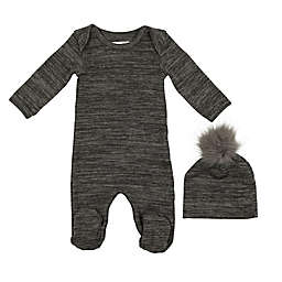 HannaKay by Manière 2-Piece Sweater Knit Footie and Hat Set in Grey