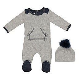 HannaKay by Manière 2-Piece Kangaroo Pocket Sweater Footie and Hat Set in Grey