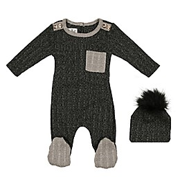 HannaKay by Manière 2-Piece Marled Sweater Knit Footie and Hat Set in Grey