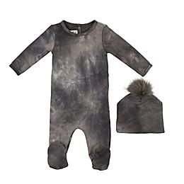 HannaKay by Manière 2-Piece Tie Dye Footie and Hat Set in Grey