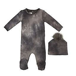HannaKay by Manière 2-Piece Tie Dye Footie and Hat Set in Grey