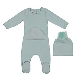 HannaKay by Manière 2-Piece Puffy Pocket Footie and Hat Set in Blue