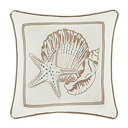 Royal Court Water's Edge Square Throw Pillow in Ivory