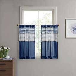 Madison Park Amherst 45-Inch Window Curtain Tier Pair in Navy