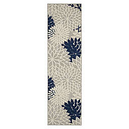 Nourison Aloha 12' Indoor/Outdoor Runner in Ivory/Navy