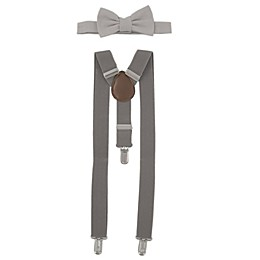 Addie & Tate Infant/Toddler 2-Piece Wool Bow Tie and Suspender Set in Grey