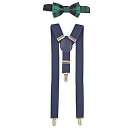 Addie & Tate Infant/Toddler 2-Piece Plaid Bow Tie and Suspender Set in Green