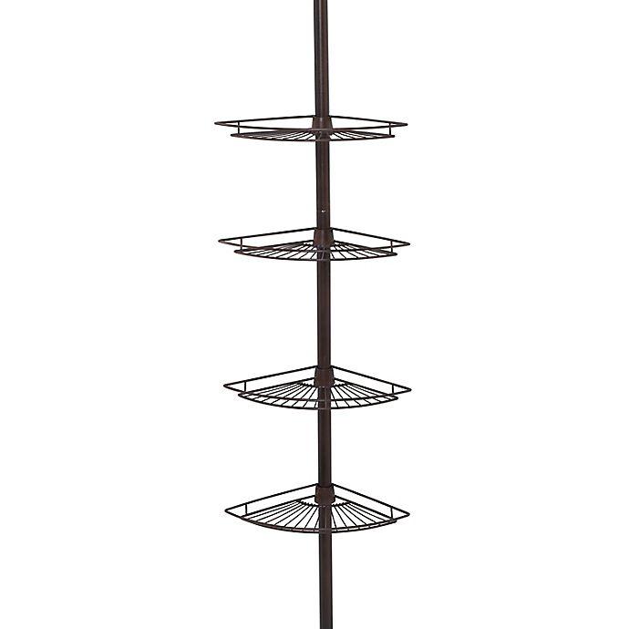 Alternate image 1 for Zenna Home® 4-Shelf Corner Pole Shower Caddy in Bronze