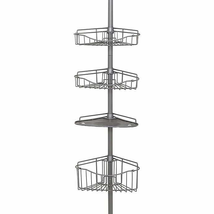 Alternate image 1 for Zenna Home® 3-Basket Corner Pole Shower Caddy in Satin Nickel