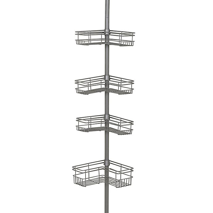 Alternate image 1 for Zenna Home® Tension Corner Pole Shower Caddy in Satin Nickel