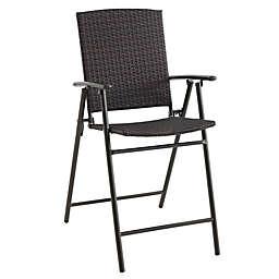 Destination Summer Stratford Wicker Folding Balcony Chair in Brown