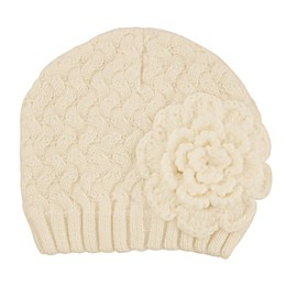 Addie & Tate Flower Knit Hat in Ivory