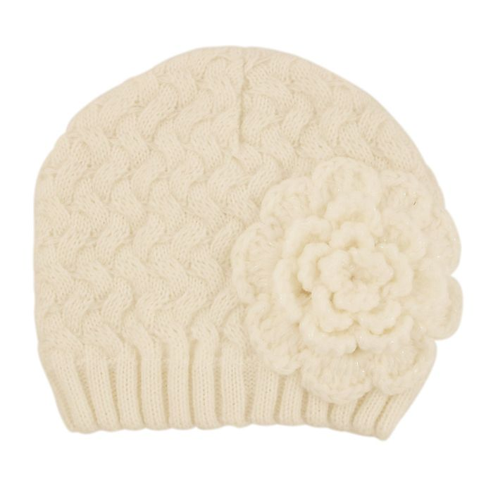 Alternate image 1 for Addie & Tate Flower Knit Hat in Ivory