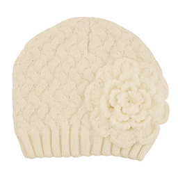 Addie & Tate Flower Knit Hat in Ivory