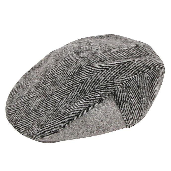 Alternate image 1 for Addie & Tate Newborn Herringbone Cabbie Hat in Grey