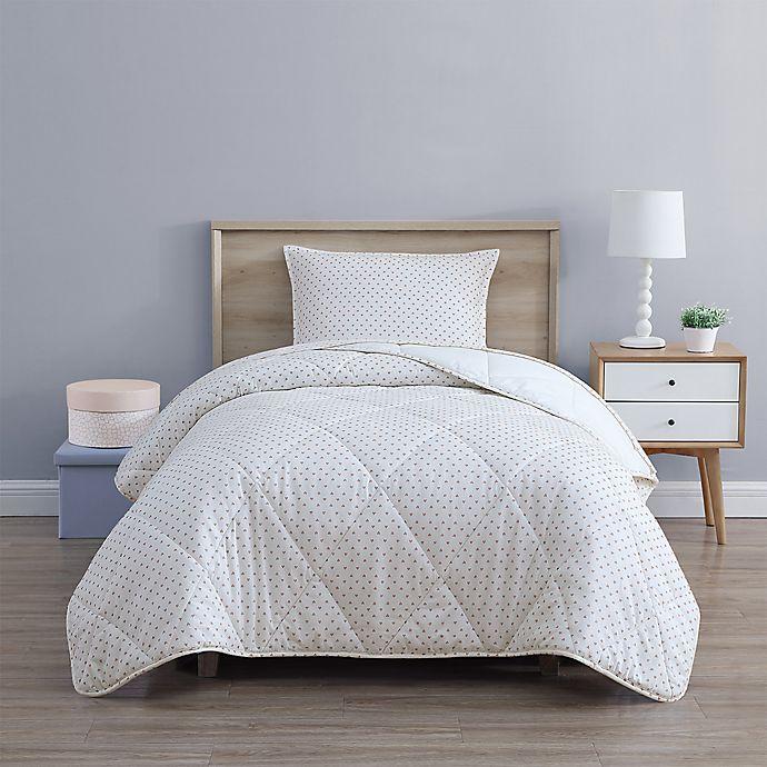 Alternate image 1 for UGG® Juvie 3-Piece Full/Queen Flannel Comforter Set in Peach Hearts