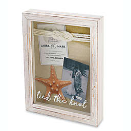 """Mud Pie® """"Tied The Knot"""" 12-Inch x 9-Inch Shadow Box Frame in White Wash"""