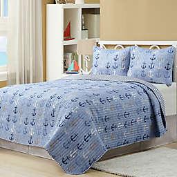 Harper Lane Anchors 3-piece Reversible Quilt Set in Blue