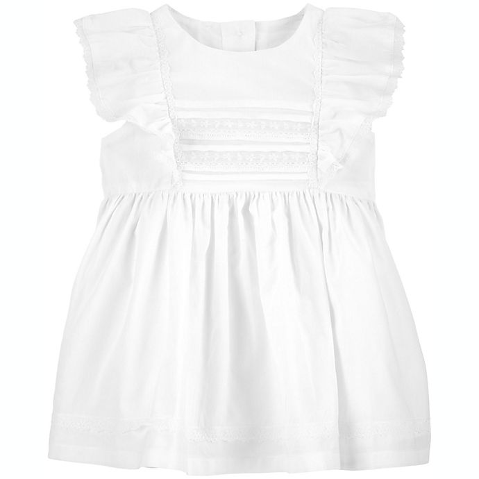Alternate image 1 for OshKosh B'gosh® Size 3M Pintuck Lace Dress in Ivory