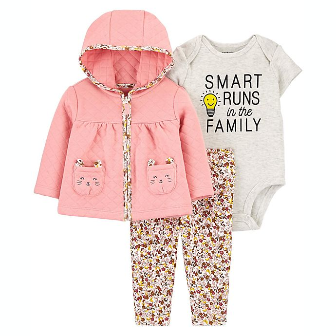Alternate image 1 for carter's® 3-Piece Quilted Bodysuit, Cardigan and Pant Set in Pink