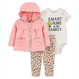 carter's® Newborn 3-Piece Quilted Bodysuit, Cardigan and Pant Set in Pink