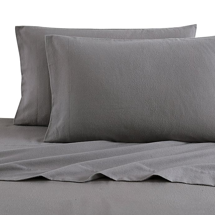 Alternate image 1 for Bee & Willow™ Home Solid Flannel Standard/Queen Pillowcases in Charcoal (Set of 2)