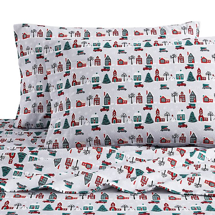 Bee Willow Home Christmas Village Flannel Sheet Set Bed Bath Beyond