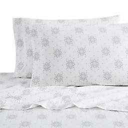 Bee & Willow™ Home Isle Snowflake Flannel King Sheet Set in White/Grey