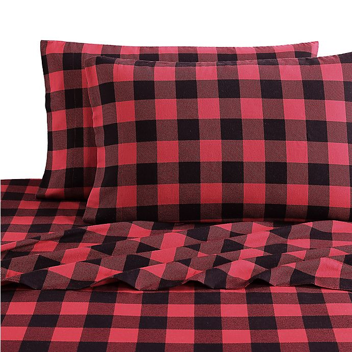 Alternate image 1 for Bee & Willow™ Home Buffalo Plaid Flannel King Sheet Set in Red/Black
