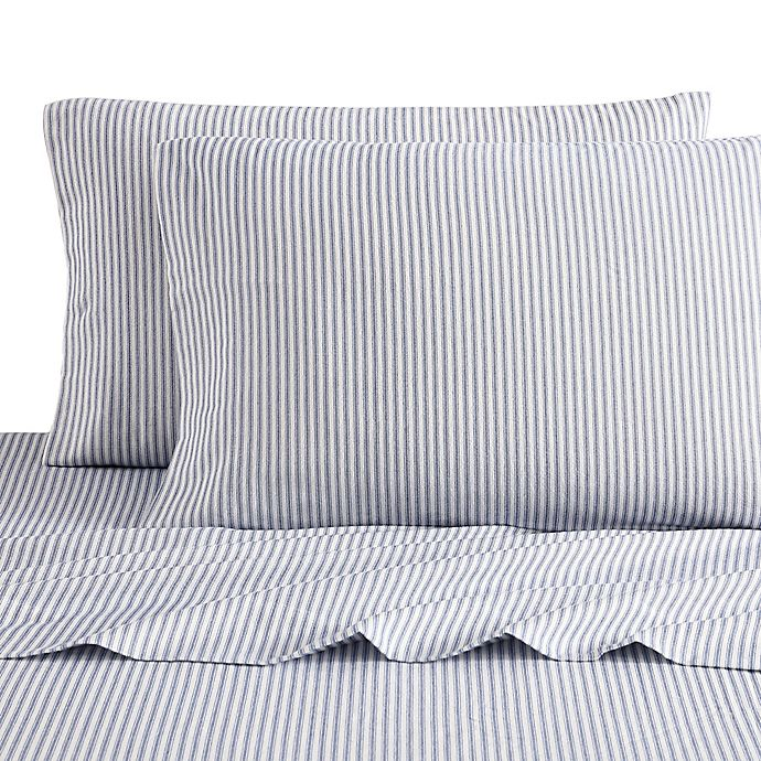Alternate image 1 for Bee & Willow™ Home Striped Flannel King Sheet Set in Navy