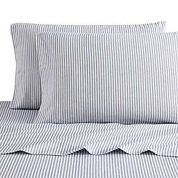 Bee & Willow™ Home Striped Flannel Queen Sheet Set in Navy