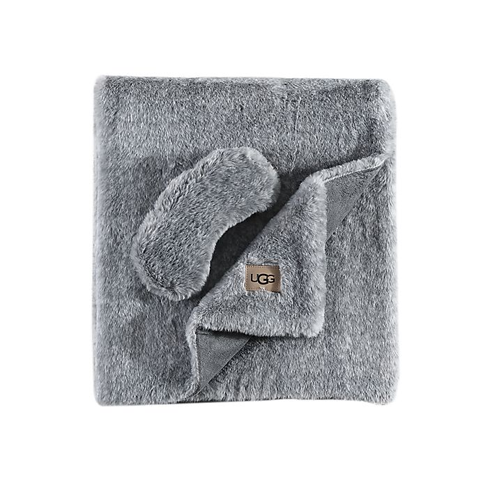 Alternate image 1 for UGG® Pinecreek 2-Piece Faux Fur Travel Set in Charcoal