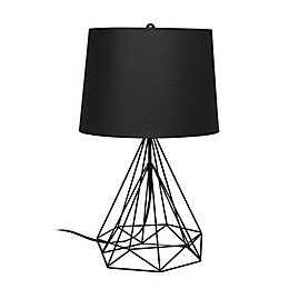 Geometric Wired Table Lamp with Fabric Shade