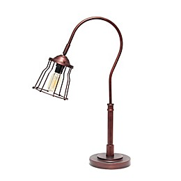 Rustic Caged Shade Table Lamp in Red