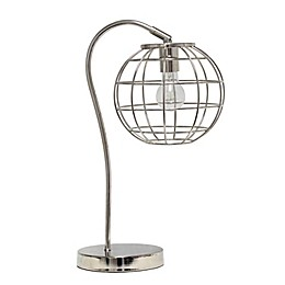 Arched Metal Cage Table Lamp with Metal Shade