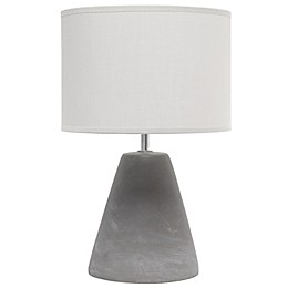 Simple Designs Pinnacle Concrete Table Lamp with Fabric Shade