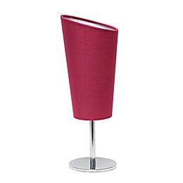 Mini Chrome Table Lamp with Angled Fabric Shade