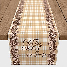 Designs Direct Gather Pinecones Plaid Table Runner in Orange