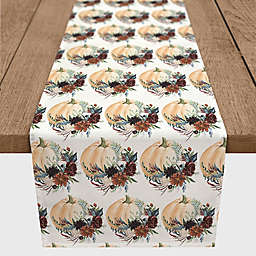 Designs Direct Fall Flowers and Pumpkins Table Runner in Orange